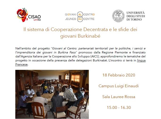 Il sistema di Cooperazone Decentrata e le sfide dei giovani burkinabé